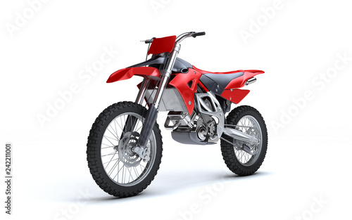Poster Motorise 3D illustration of red glossy sports motorcycle isolated on white background. Perspective. Left side view