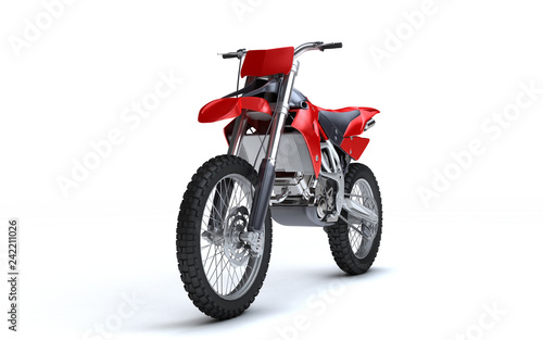 Poster Motorsport 3D illustration of red glossy sports motorcycle isolated on white background. Perspective. Front view. Left side. Low angle.
