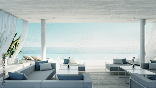 Foto auf AluDibond Licht blau Beach living lounge - ocean villa seaside & sea view for vacation and summer / 3d render interior