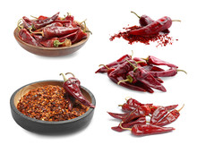 Set With Dry Chili Peppers On White Background