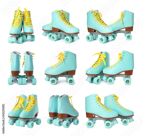 Fotomural Set with stylish quad roller skates on white background
