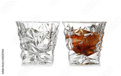 Foto op Plexiglas Cocktail Empty and full whiskey glasses on white background