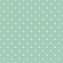 Mint Green Polka Dots Seamless Pattern - White Polka Dots On Mint Green Background Seamless Pattern