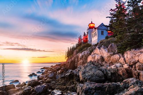 Bass Harbor Head lighthouse at sunset Canvas Print