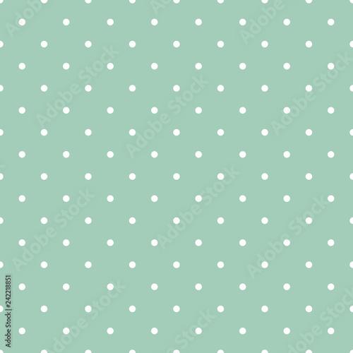 Mint Green Polka Dots Seamless Pattern - White polka dots on mint green backgrou Canvas Print