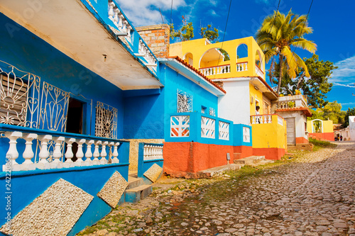 Photo  Trinidad Cuba colorful houses
