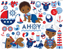 Vector African American Baby Boy Set In Nautical Style. African American Baby Boy Vector Illustration