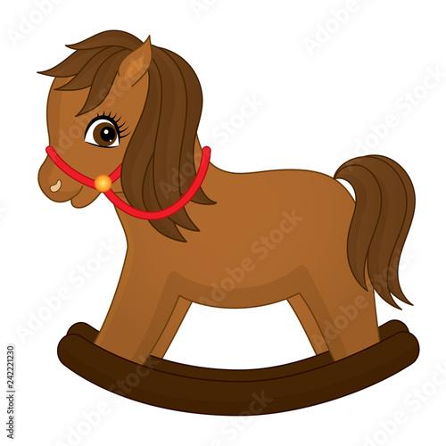 Vector cute rocking horse. Rocking horse vector illustration Canvas-taulu
