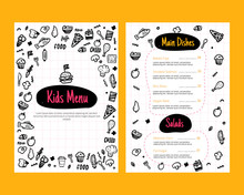 Colorful Kids Menu In Doodle Style. Flyer Layout Template. Fresh Food Card With Cute Vector Illustrations.