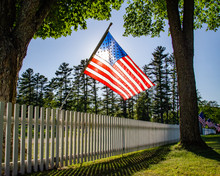 American Flag At Cemetery Fence