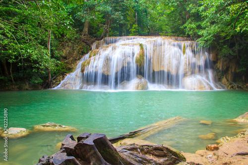Poster Bleu nuit Waterfalls In Deep Forest at Erawan Waterfall in National Park Kanchanaburi Thailand