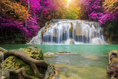 Wall Murals Waterfalls Waterfalls In Deep Forest at Erawan Waterfall in National Park Kanchanaburi Thailand