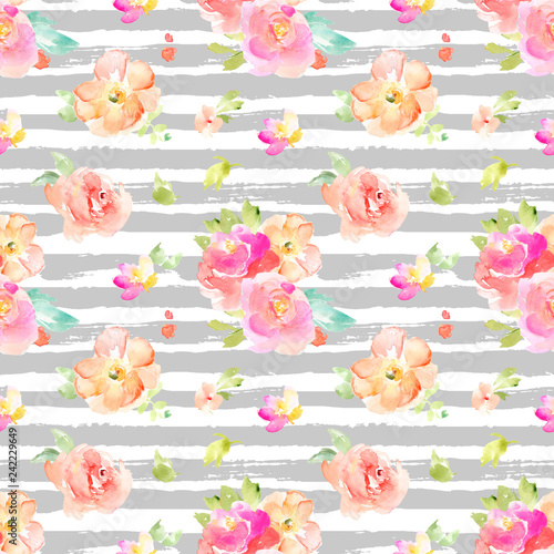 Cute Bright Colorful Watercolor Flower Background Pattern