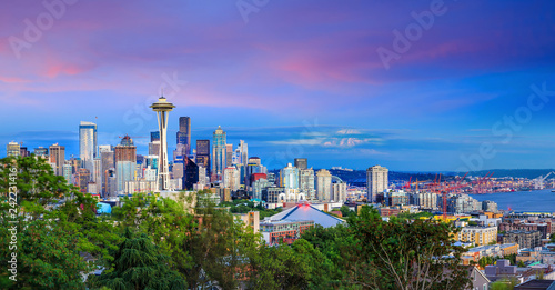 Spoed Foto op Canvas Centraal-Amerika Landen Seattle skyline at twilight