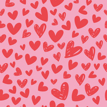 Heart Seamless Pattern For Valentine's Day, Vector Illustration