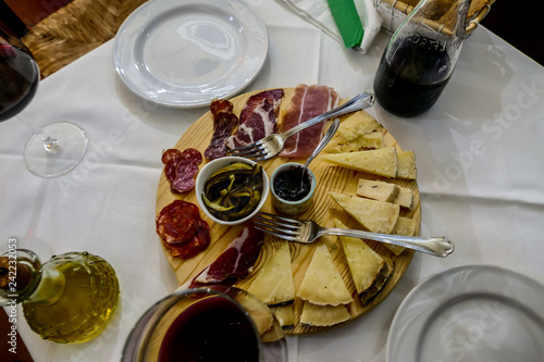 Fotografie, Obraz  Photo Picture Image of typical italian food dish cheese ham salami sausage jam