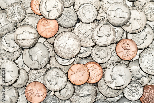 Fotomural  Various USA, American coins for business, money, financial concept background