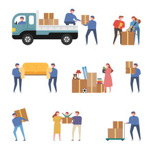 Moving Company Employees And Luggage On The Day Of Moving. Concept Illustration. Flat Design Vector Graphic Style.
