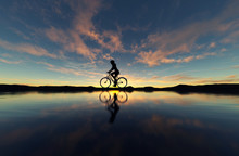 Silhouette Of Young Woman Cyclist On Sunset,3d Illustration