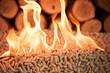 Leinwanddruck Bild - Burning pellets and pile of wood