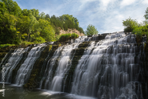 Canvas Prints Forest river Water cascading down Thunder Bay Falls on a Summer morning. Galena, Illinois, USA