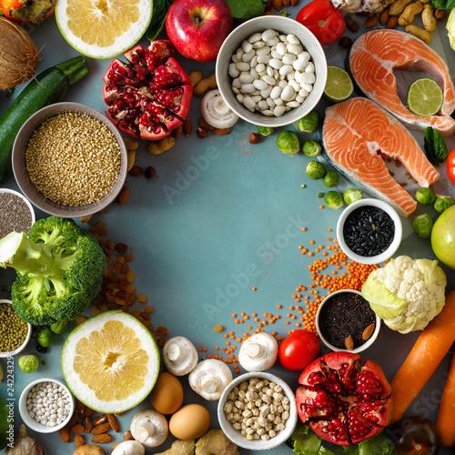 Top view frame set healthy food cooking healthy diet food
