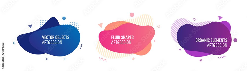 Fototapety, obrazy: Set of trendy colorful and glowy fluid shapes. Vector geometric template elements for your own projects
