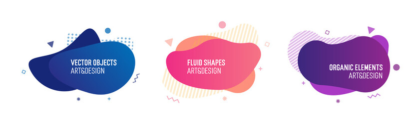 Set of trendy colorful and glowy fluid shapes. Vector geometric template elements for your own projects