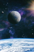 Planets, Stars And Galaxies In Outer Space Showing The Beauty Of Space Exploration. Elements Furnished By NASA .
