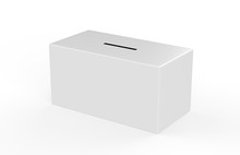 Collection Box On Isolated White Background For Charity, Donation Box Mock Up Template, 3d Illustration