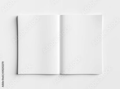 Valokuvatapetti Isolated white open magazine mockup on white 3D rendering