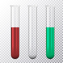 Set Of Realistic Illustration Of Three Test Tube With Red Blood Or Green Fluid, Isolated On Transparent Background, Vector