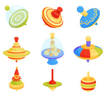 Flat Vector Set Of Different Humming Top Icons. Children Whirligig Toys. Kids Development Game