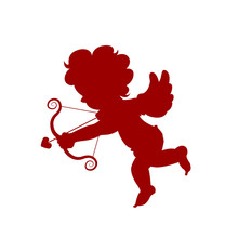 Silhouette Red Amour Cupid Baby, Symbol Ancient Mythology Angle Holding Bow And Arrow Isolated On White Background For Decorate On Valentine's Day, Vector Illustration.
