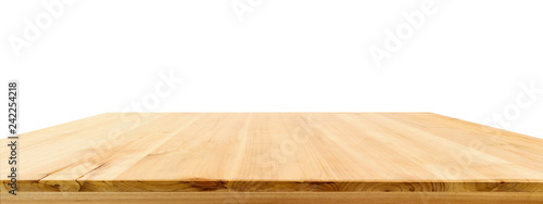 Fototapeta Wood table top isolated on white background obraz