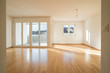 Leinwanddruck Bild - bright new living room in an empty apartment with french doors and parquet wooden floors