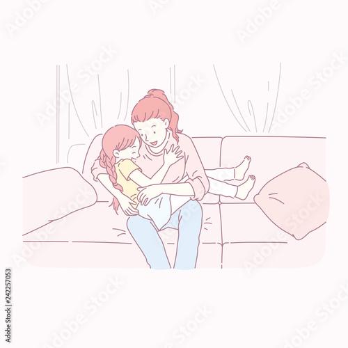 Fotobehang Illustratie Parijs Mom playing with her daughter