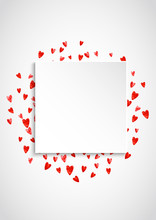 Valentines Paper Frame With Gold Glitter Hearts. February 14th Day. Vector Confetti For Valentine Paper Frame.