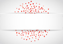 Valentine Paper Frame With Pink Glitter Hearts. February 14th Day. Vector Confetti For Valentine Paper Frame. White Festive Banner With Texture.