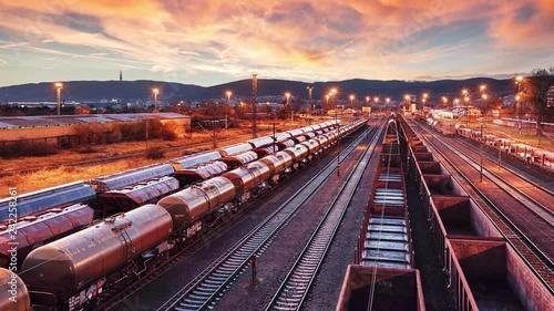 Cuadros en Lienzo Time lapse of Train Freight transportation - Cargo transit