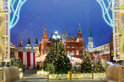 Foto op Aluminium Aziatische Plekken Moscow, Russia, Manezhnaya square. New Year and Christmas. Manezh square in Moscow was decorated with Christmas tree and decorative designs.