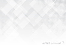Abstract Elegant Squares Shapes Pattern Overlay Layer Geometric White And Gray Gradient Color Background With Halftone Texture.
