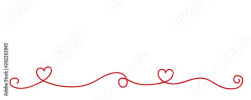 Obraz red heart tendril border isolated on white background vector illustration EPS10 - fototapety do salonu