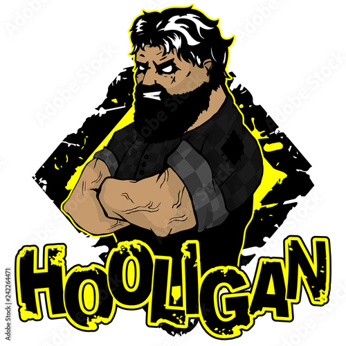 """Fotografiet  print on T-shirt """"hooligan"""" with a strong man image"""