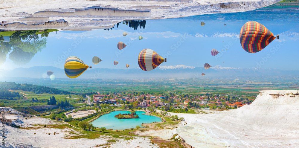 Fototapeta Amazing fantastic unreal world, hot air balloons fly in blue sky