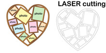 Heart Shaped Frame For Photos For Laser Cutting. Collage Of Photo Frames. Template Laser Cutting Machine For Wood And Metal. The Perfect Gift For St. Valentine's Day.