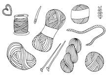 Knitting Yarn Balls Set In Hand Drawn Style