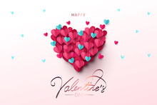 Happy Valentines Day Festive Design Banner, Greeting Card Or Poster. Vector Illustration Of Love. Big Heart Made Of Small Blue And Pink Origami Hearts Flying In The Sky. Paper Art, Digital Craft Style