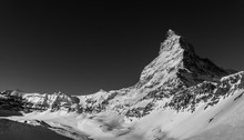 A Wonderful Black And White Image Of The North Face Of The World Famous Matterhorn On A Cloudless Morning In The Ski Area Of Zermatt In The Swiss Alps