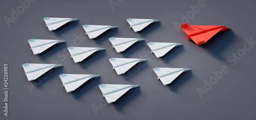 Photo  Papierflieger Formation Rot